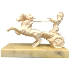 Vintage Roman Soldier and Chariot Horses Sculpture on Marble Base