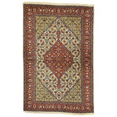 Vintage Romanian Accent Rug with Herati Mahi Fish Design
