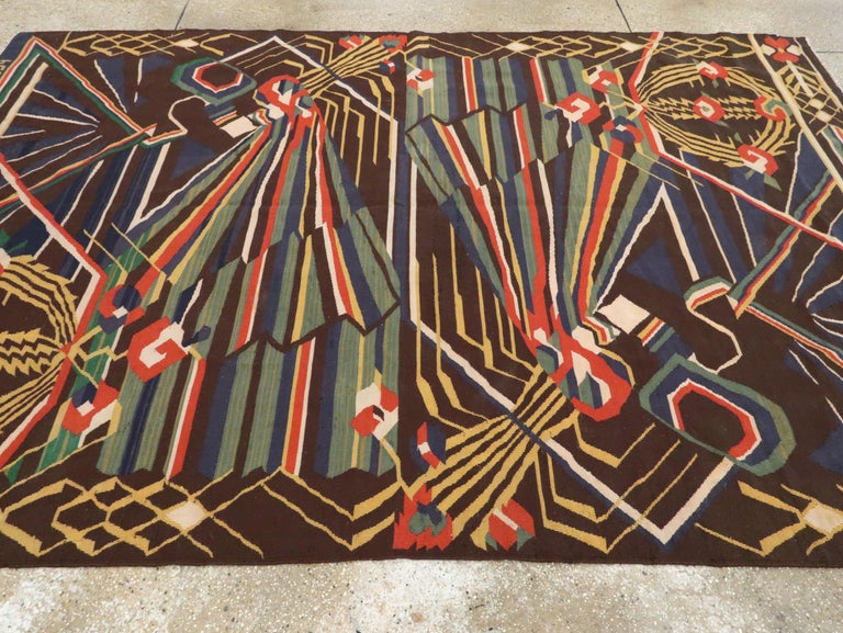 Vintage Romanian Flat-Weave Rug For Sale 5