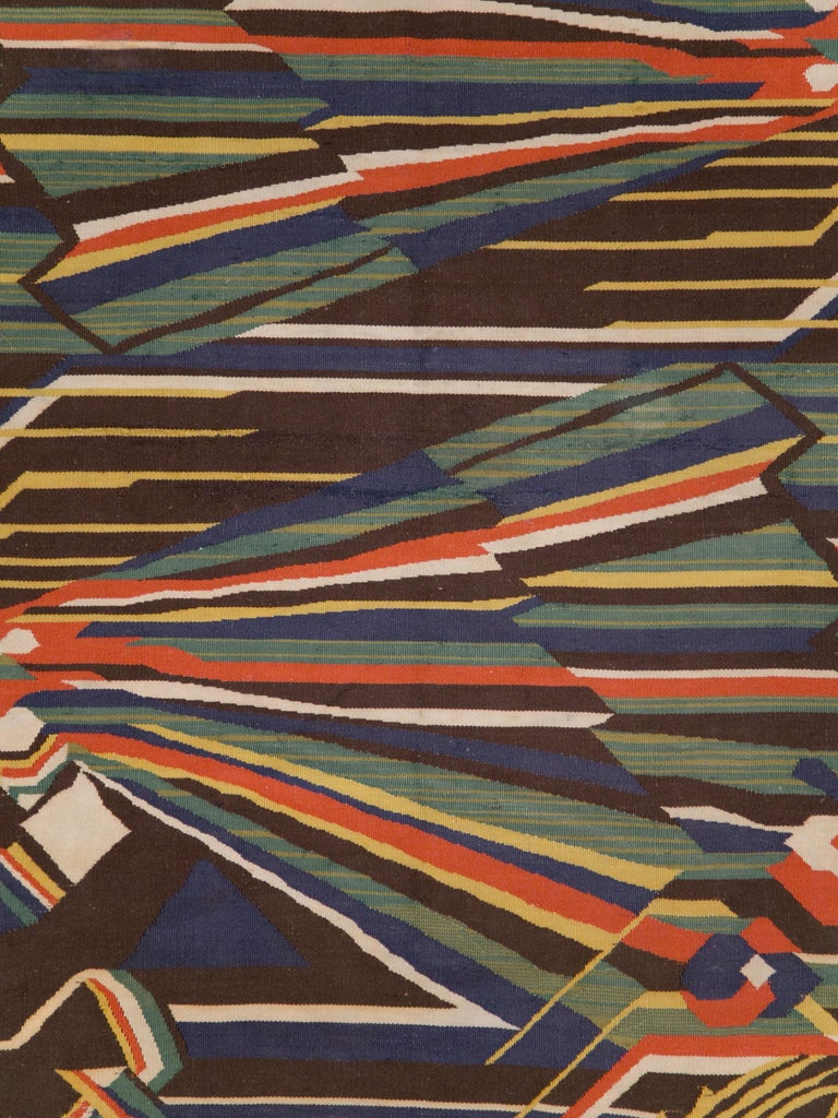 A vintage Romanian flat-weave rug, in the style of Scandinavian Modern, from the mid-20th century.