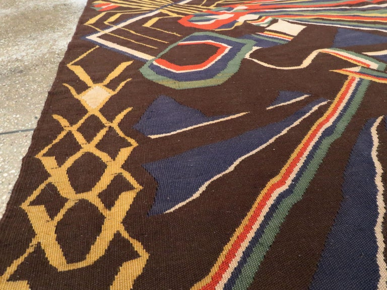 20th Century Vintage Romanian Flat-Weave Rug For Sale
