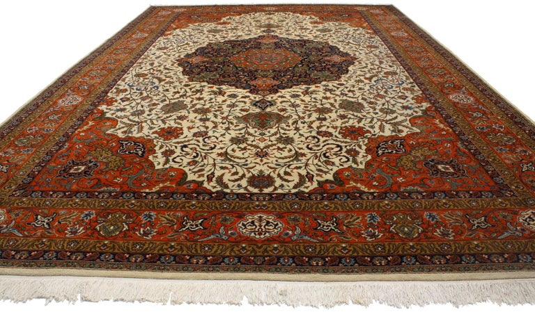 Vintage Romanian Palace Size Rug With Old World Art