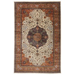 Vintage Romanian Palace Size Rug with Old World Art Nouveau Cottage Style