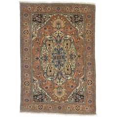 Vintage Romanian Rug with Grand Medallion, Persian Style Area Rug