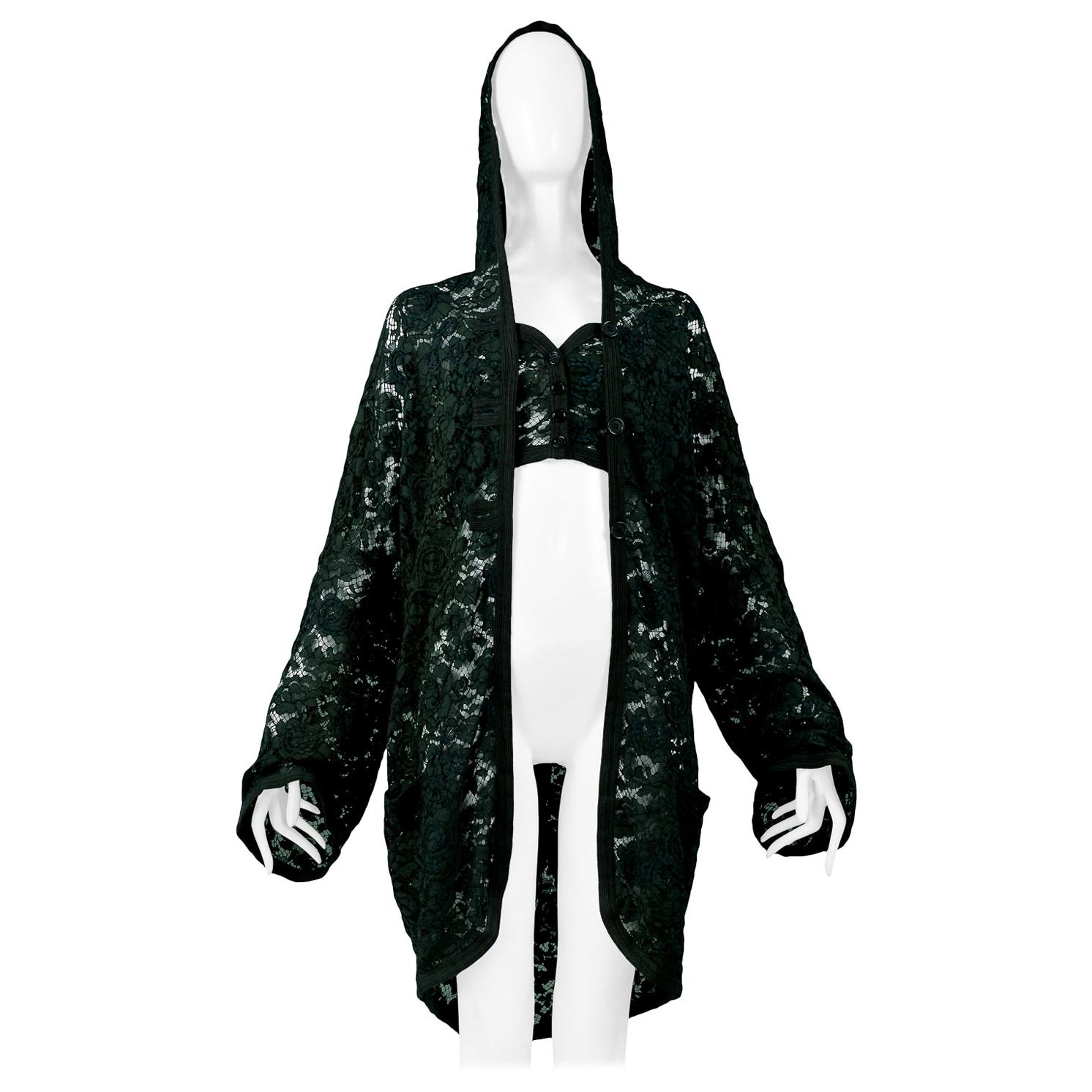 Vintage Romeo Gigli 1990 Green Lace Hooded Jacket