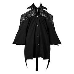 Vintage Romeo Gigli Black Lace Cold Shoulder Top