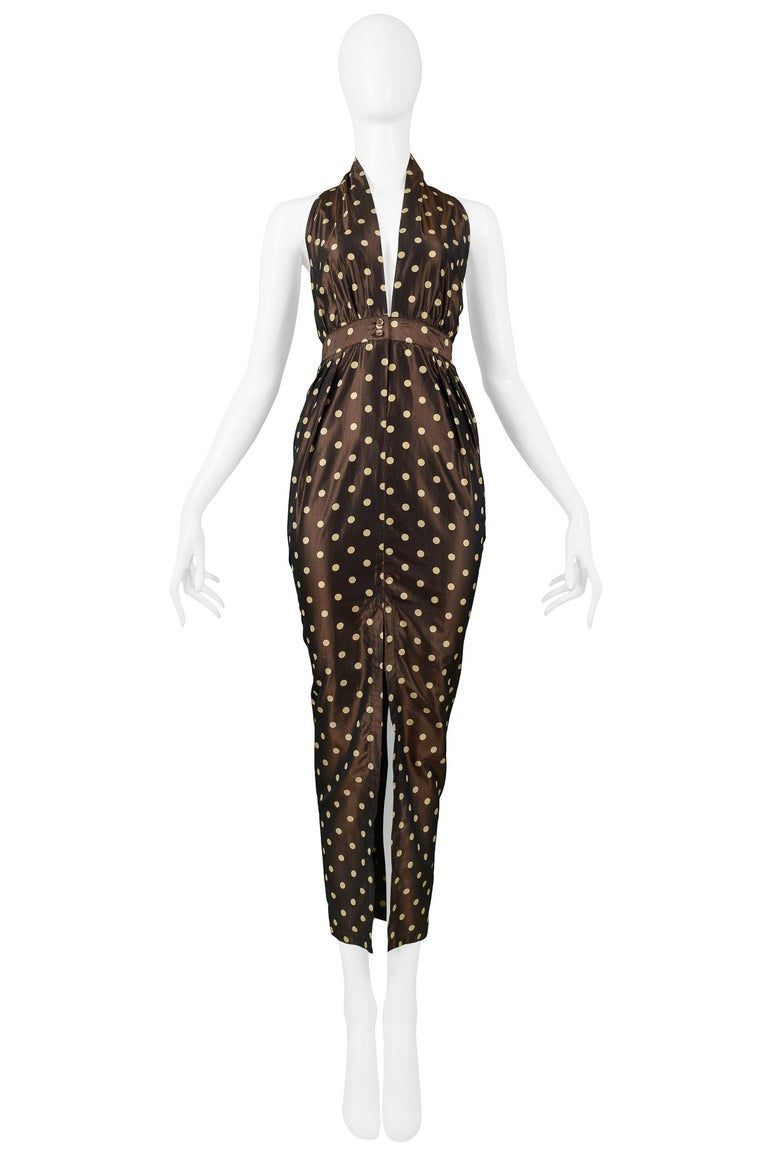 Vintage Romeo Gigli chocolate brown and cream silk taffeta polka dot dress with halter top, open back with T-strap detail, and tulip silhouette skirt with center front slit. Sash at waist ties in back.   Excellent Vintage Condition.  Size 42