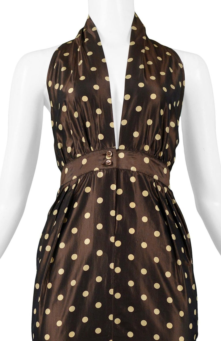 Vintage Romeo Gigli Brown Polka Dot Halter Dress In Excellent Condition For Sale In Los Angeles, CA
