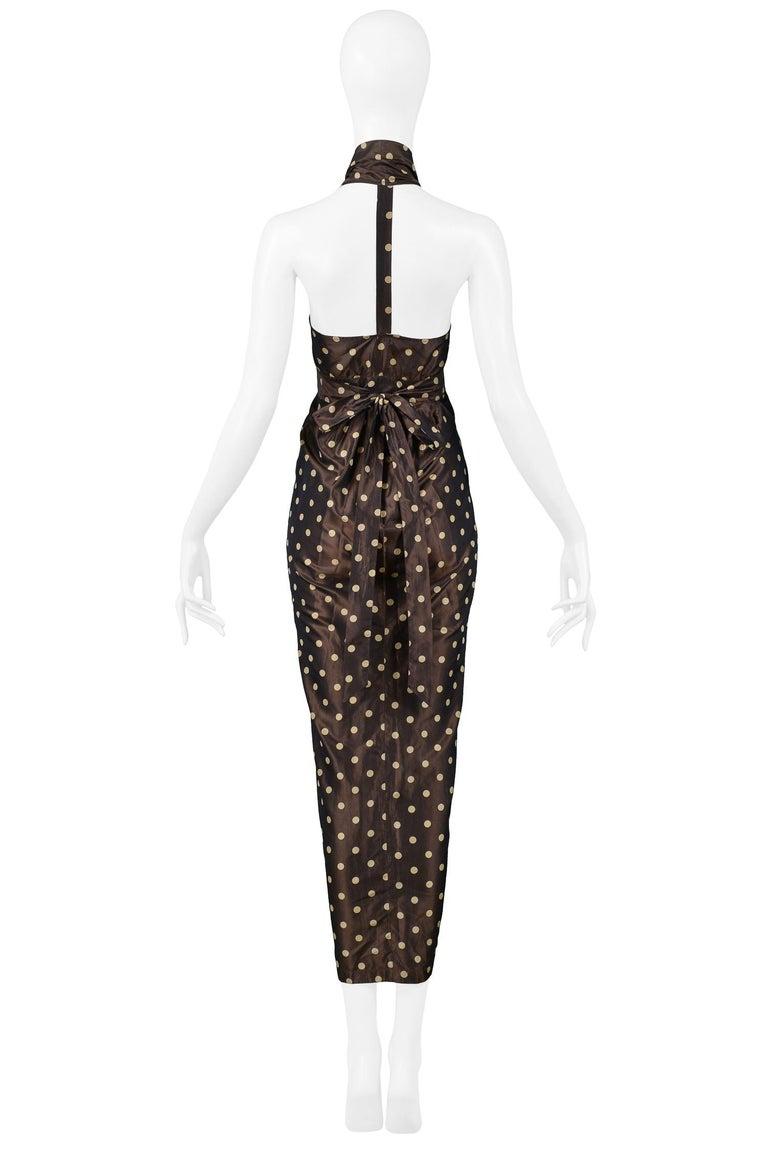 Women's Vintage Romeo Gigli Brown Polka Dot Halter Dress For Sale