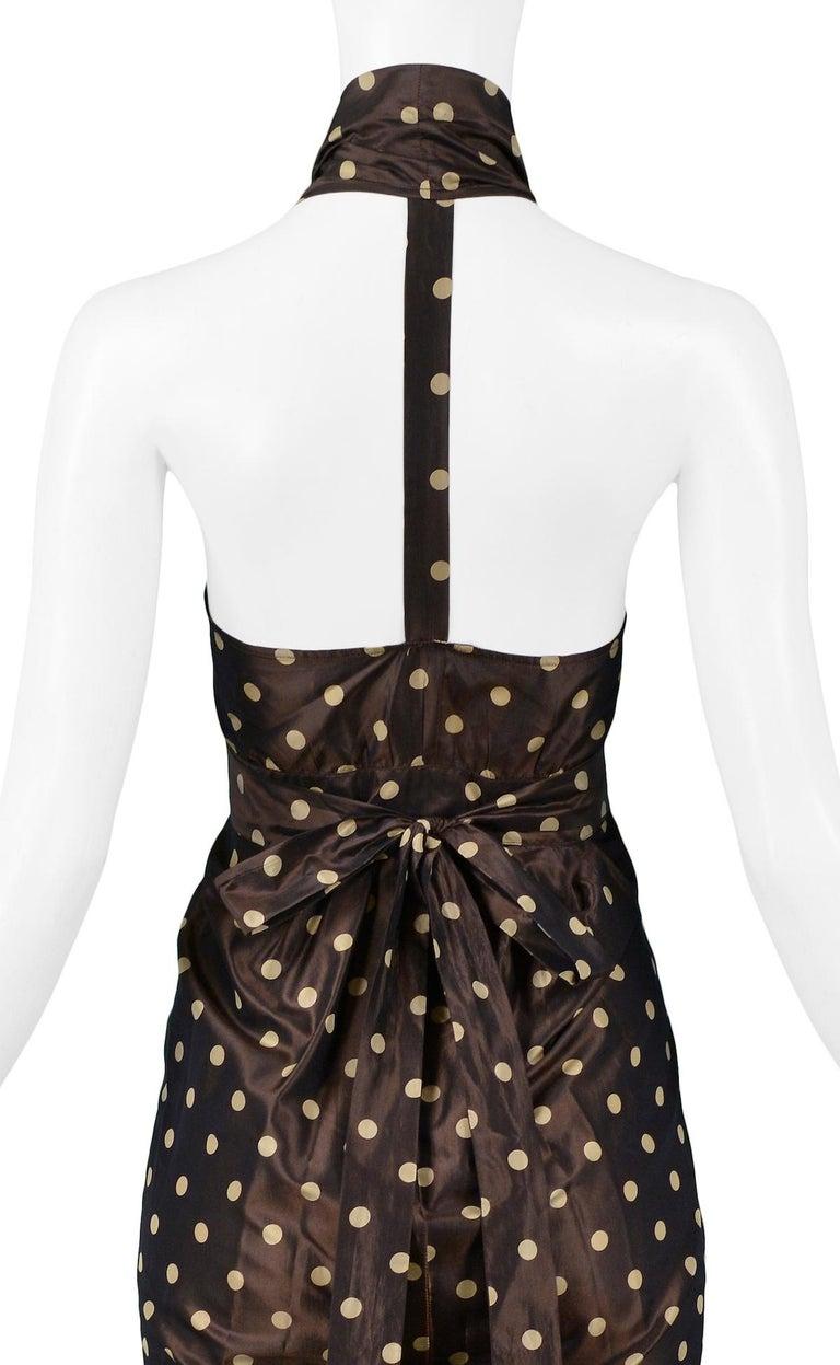 Vintage Romeo Gigli Brown Polka Dot Halter Dress For Sale 1