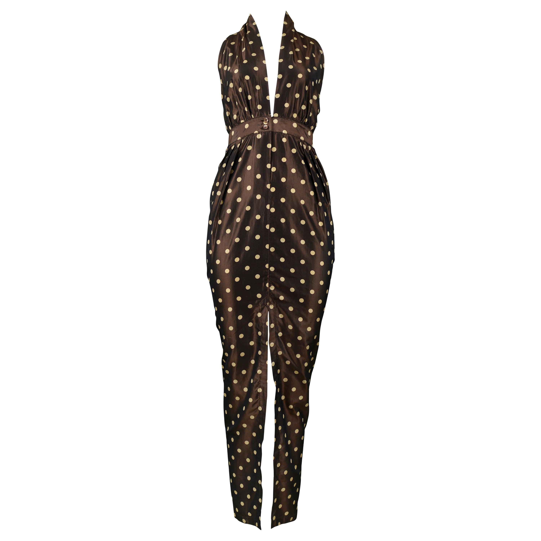 7579b6412c6 Vintage Romeo Gigli Brown Polka Dot Halter Dress