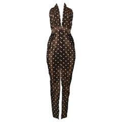 Vintage Romeo Gigli Brown Polka Dot Halter Dress