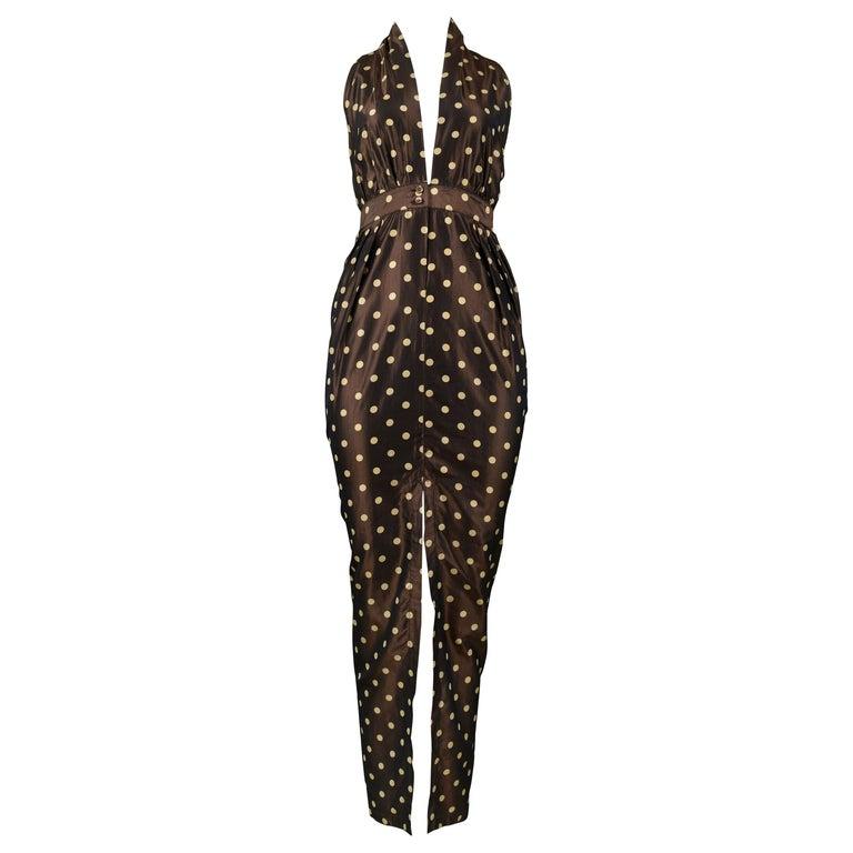 Vintage Romeo Gigli Brown Polka Dot Halter Dress For Sale