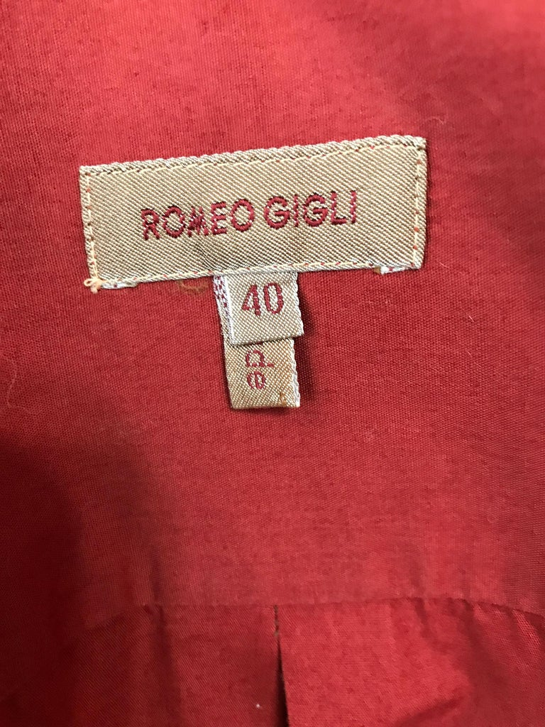 Vintage Romeo Gigli Burgundy Oversize Shirt with Attached Hood Scarf 1980s For Sale 5