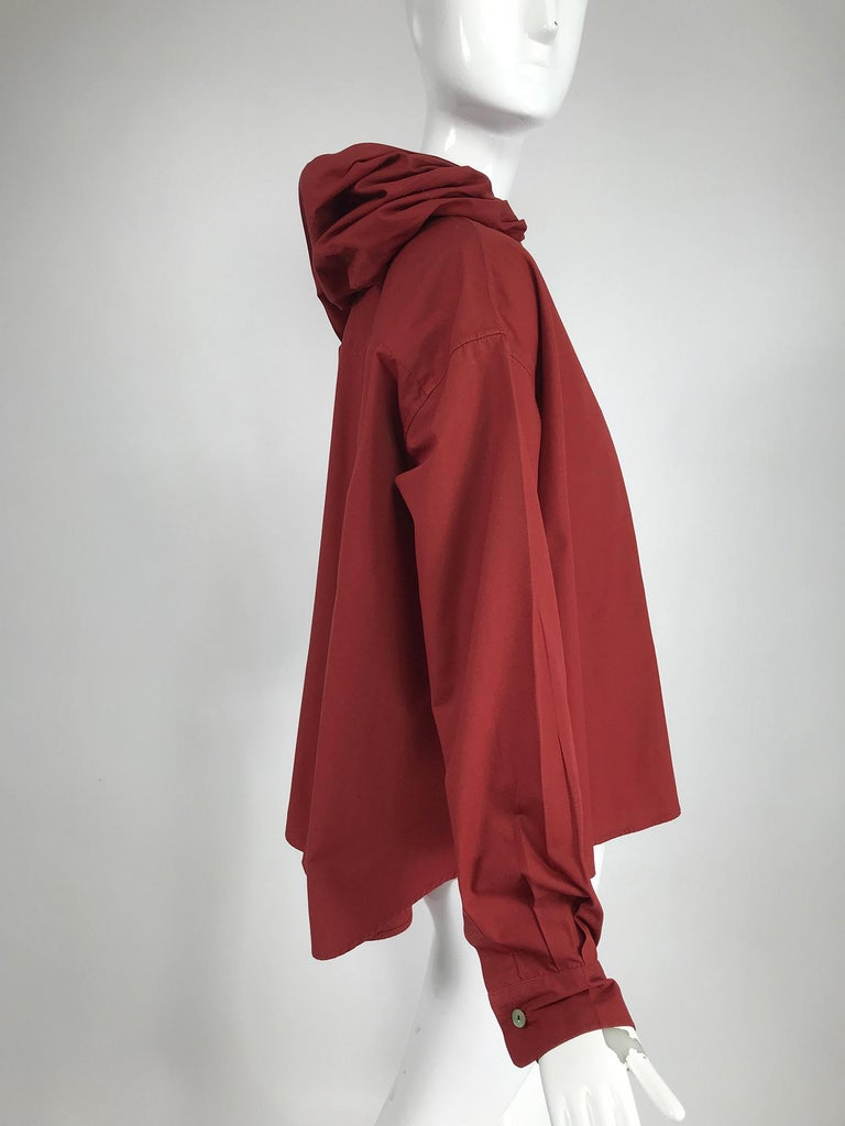 Brown Vintage Romeo Gigli Burgundy Oversize Shirt with Attached Hood Scarf 1980s For Sale
