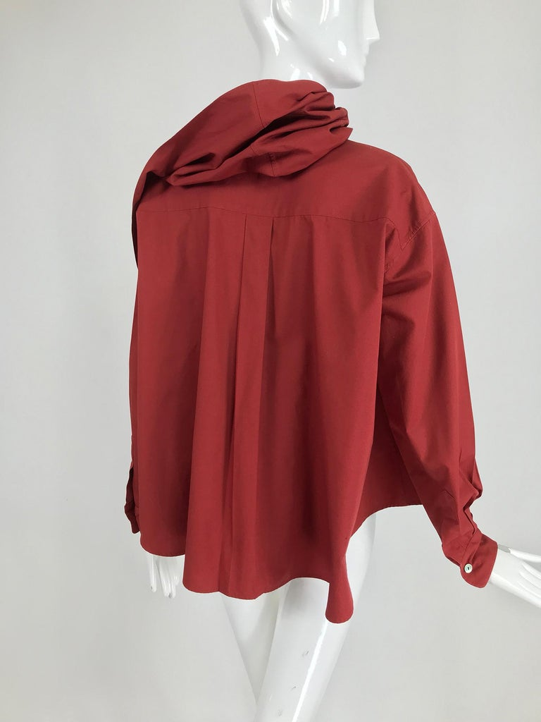 Vintage Romeo Gigli Burgundy Oversize Shirt with Attached Hood Scarf 1980s In Excellent Condition For Sale In West Palm Beach, FL