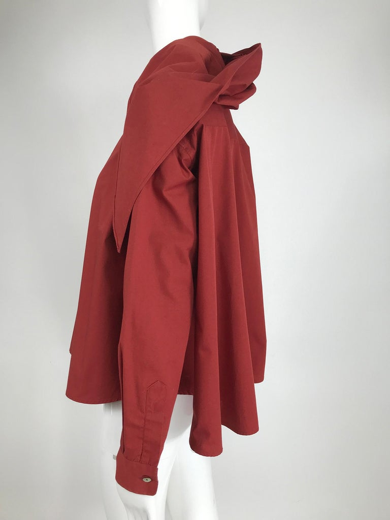 Women's Vintage Romeo Gigli Burgundy Oversize Shirt with Attached Hood Scarf 1980s For Sale