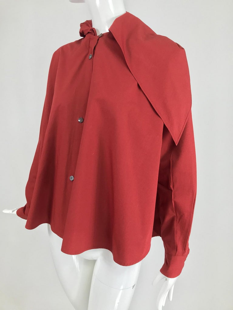 Vintage Romeo Gigli Burgundy Oversize Shirt with Attached Hood Scarf 1980s For Sale 1