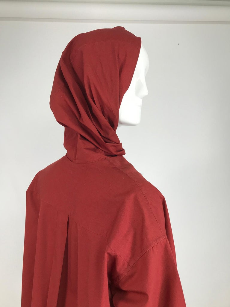 Vintage Romeo Gigli Burgundy Oversize Shirt with Attached Hood Scarf 1980s For Sale 2