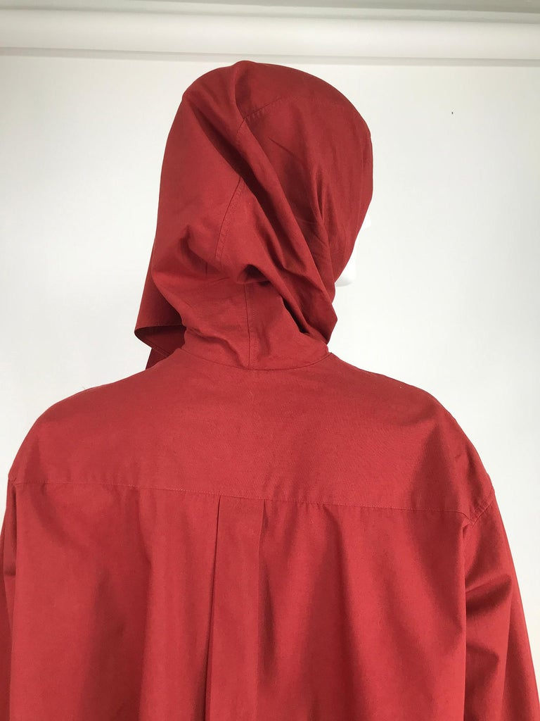 Vintage Romeo Gigli Burgundy Oversize Shirt with Attached Hood Scarf 1980s For Sale 3