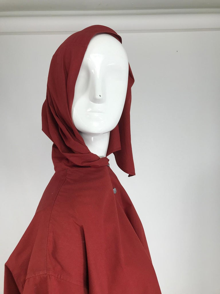 Vintage Romeo Gigli Burgundy Oversize Shirt with Attached Hood Scarf 1980s For Sale 4