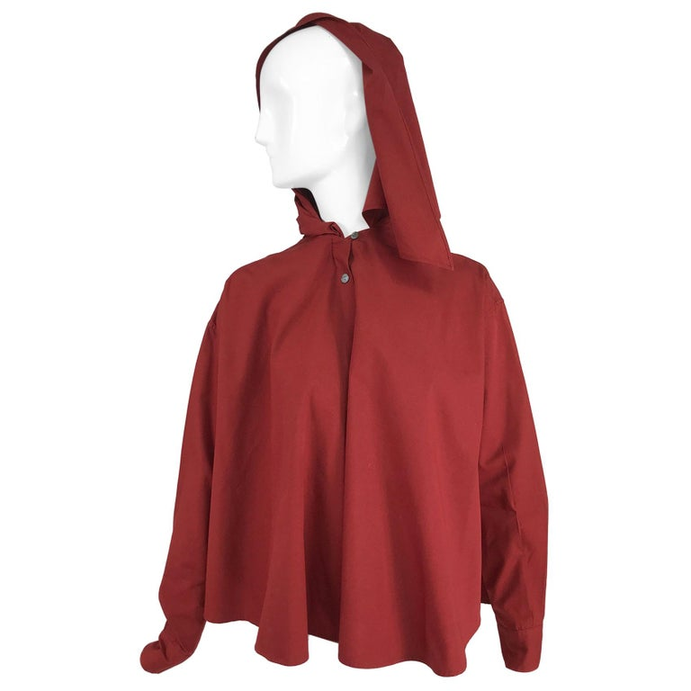 Vintage Romeo Gigli Burgundy Oversize Shirt with Attached Hood Scarf 1980s For Sale