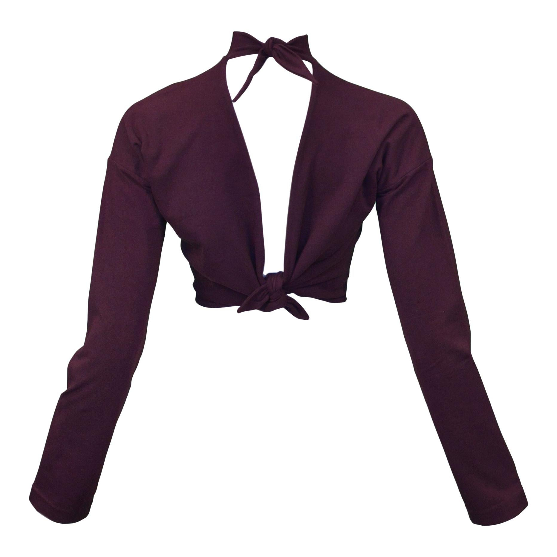 Vintage Romeo Gigli Dark Purple Tie Back Crop Top