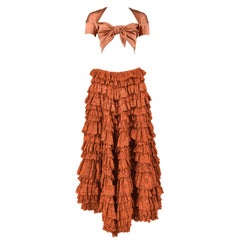 Vintage Romeo Gigli Knot Crop Top & Lace Ruffle Patio Skirt Ensemble 1990