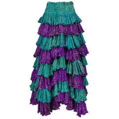 Vintage Romeo Gigli Purple & Green Washed Silk Ruffle Patio Skirt 1990