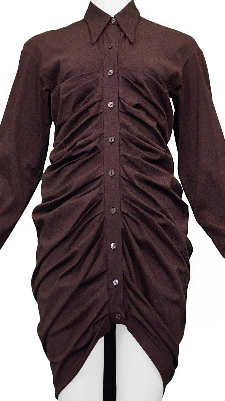 Black Vintage Romeo Gigli Purple Pleated Shirt Dress For Sale