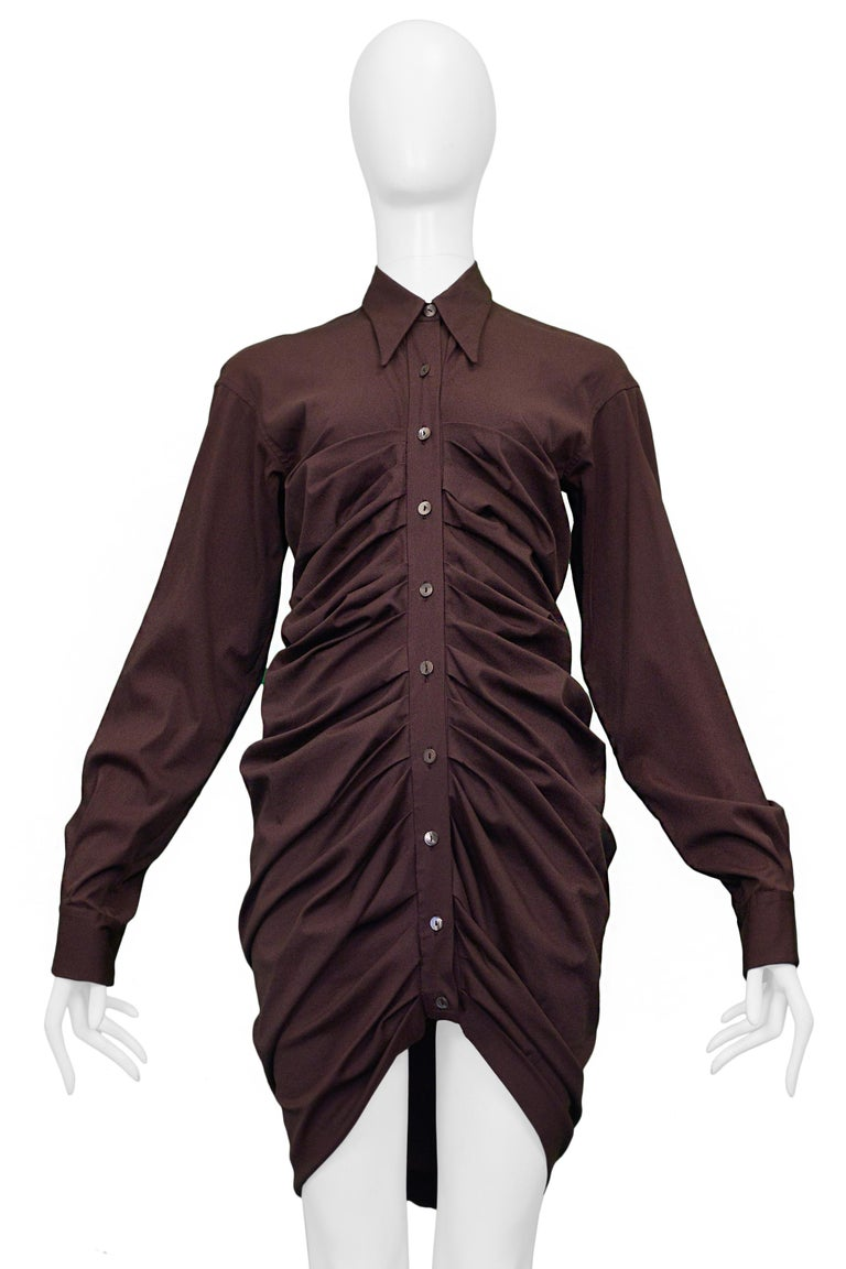 Vintage Romeo Gigli Purple Pleated Shirt Dress In Excellent Condition For Sale In Los Angeles, CA