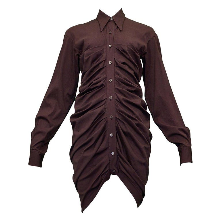 Vintage Romeo Gigli Purple Pleated Shirt Dress For Sale