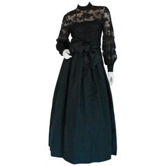 Vintage Ronald Amey Evening Gown Black Lace and Silk Taffeta Formal Dress M