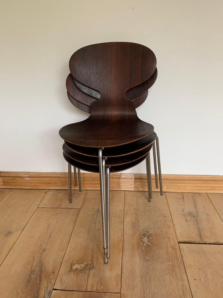 20th Century Vintage Rosewood Ant Chairs by Arne Jacobsen for Fitz Hansen For Sale 8