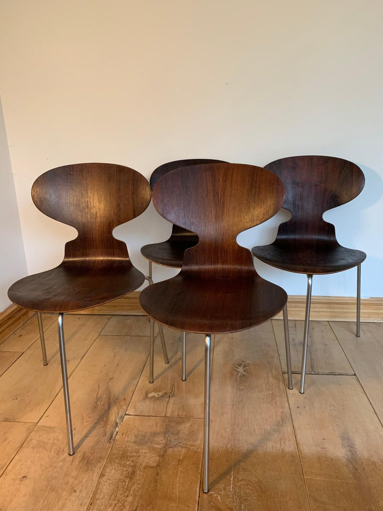 Veneer 20th Century Vintage Rosewood Ant Chairs by Arne Jacobsen for Fitz Hansen For Sale