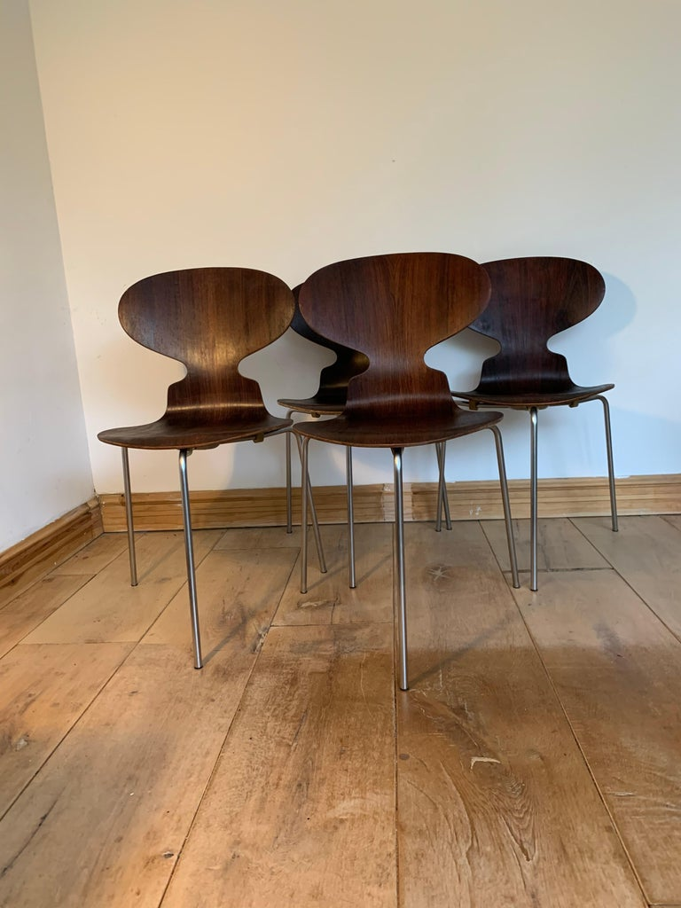 20th Century Vintage Rosewood Ant Chairs by Arne Jacobsen for Fitz Hansen In Good Condition For Sale In Bunnik, NL