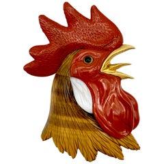 Vintage Rooster Cock Brooch Tiger Eye Jasper Agate 18 Karat Gold