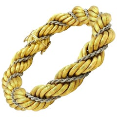 Vintage Rope Chain Two-Tone Gold Bracelet