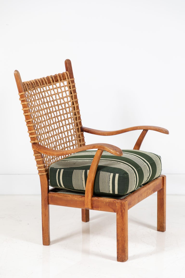 Vintage Rope Chair with Green Cushion In Good Condition In Los Angeles, CA