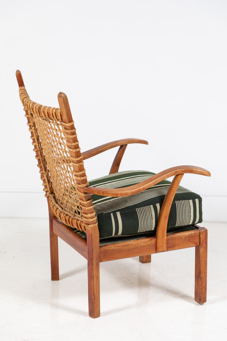Mid-20th Century Vintage Rope Chair with Green Cushion