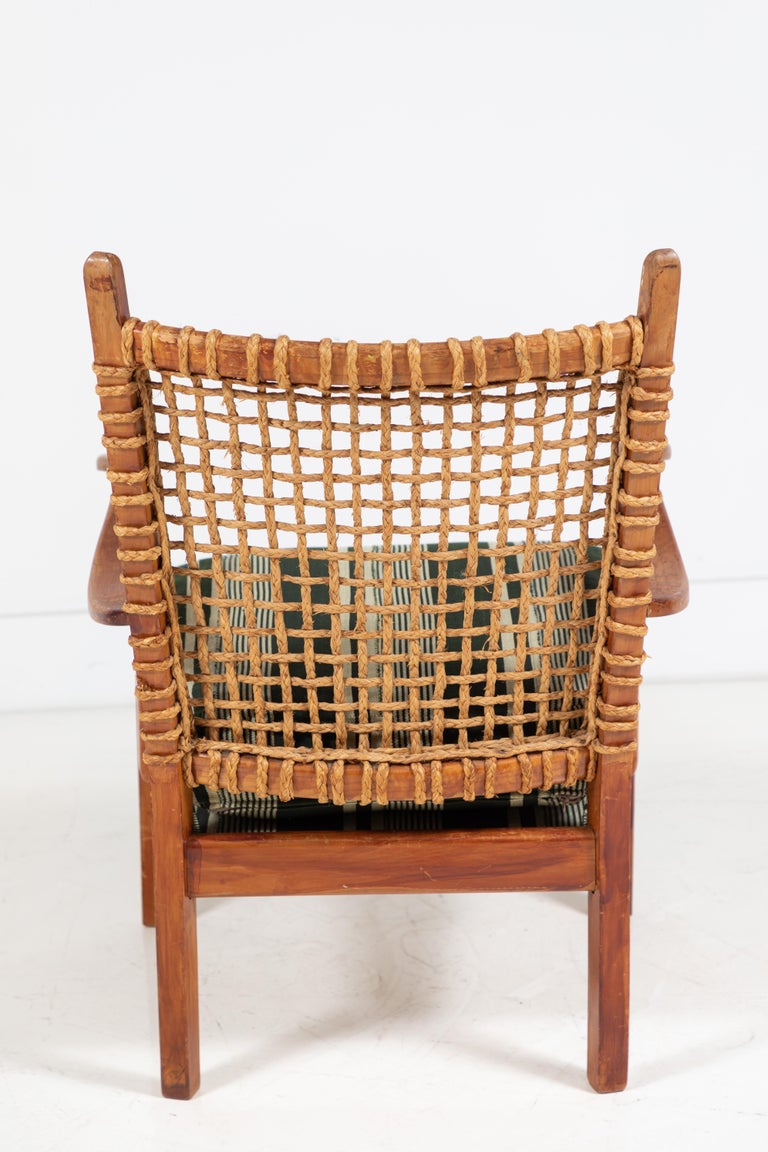 Vintage Rope Chair with Green Cushion 1