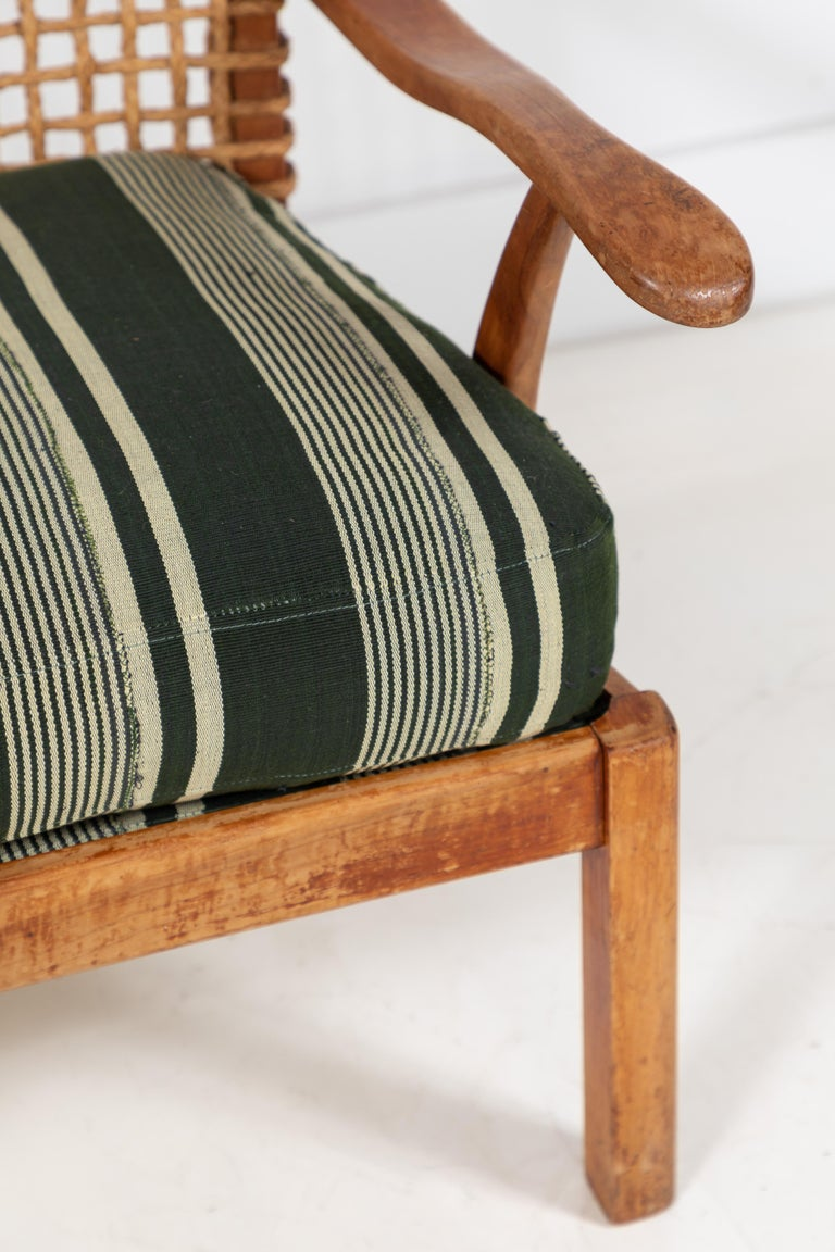 Vintage Rope Chair with Green Cushion 4