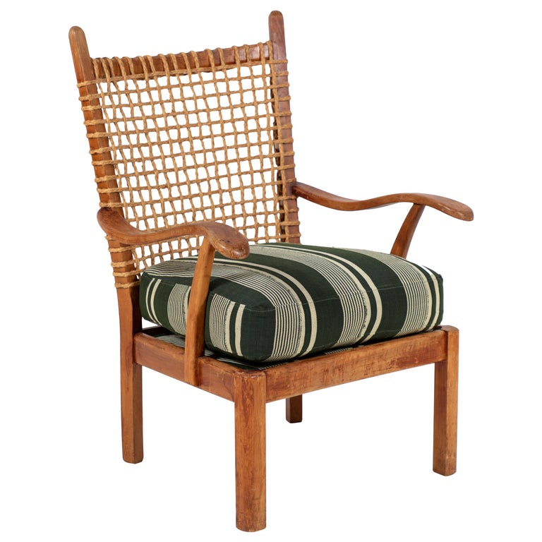 Vintage Rope Chair with Green Cushion