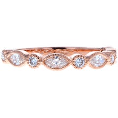 Vintage Rose Gold Marquise Diamond Wedding Band