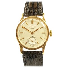 Vintage Rose Gold Patek Philippe Calatrava Manual Wind Wristwatch