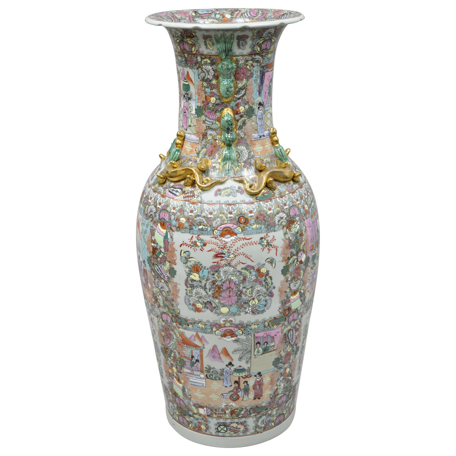 Vintage Rose Medallion Large Tall Chinese Export Porcelain Palace Urn Vase For Sale At 1stdibs