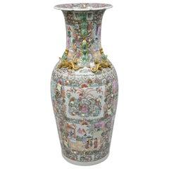 Vintage Rose Medallion Large Tall Chinese Export Porcelain Palace Urn Vase