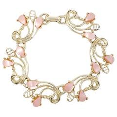 Vintage Rose Quartz Crystal Link Bracelet, Gold, Late 1900s