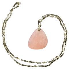 Vintage Silver Rose Quartz Necklace Pendant