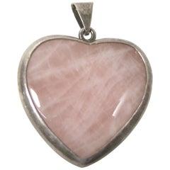Vintage Rose Quartz & Sterling Silver Heart Pendant